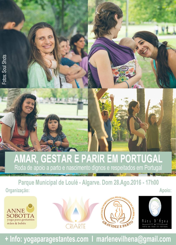 Roda Algarve 2016 Encontro Gestantes, Mães, Yoga - Humanização do Parto e Nascimento no Portugal, Anne Sobotta, Faro 2016